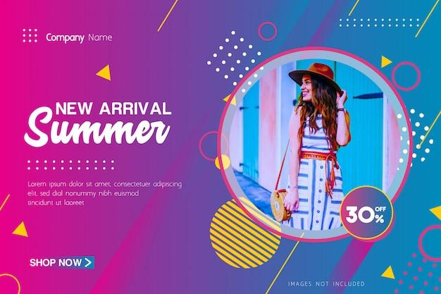 New arrival summer sale oferta banner com geométrica Vetor Premium