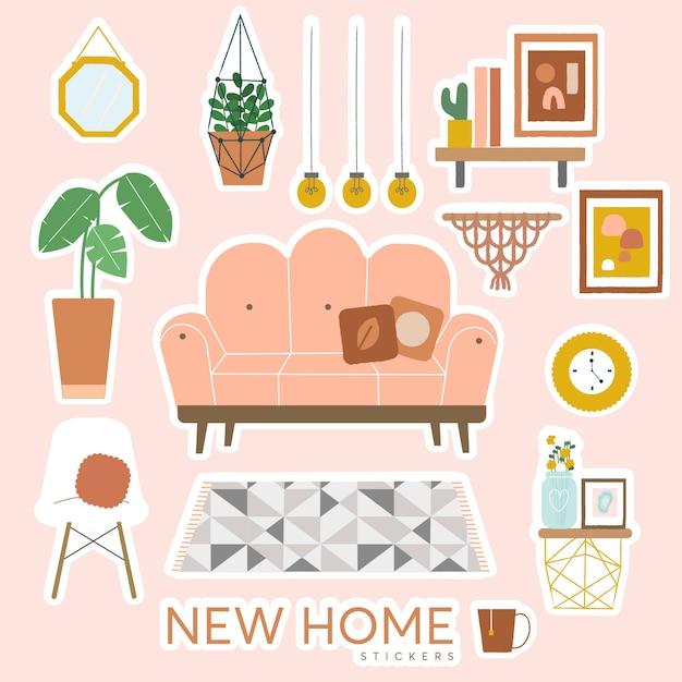 New home stickers Vetor Premium