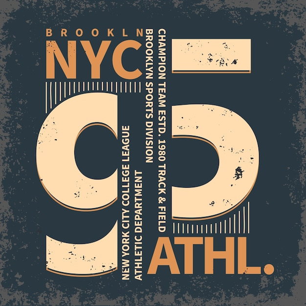New york brooklyn sportwear, emblema da tipografia Vetor Premium