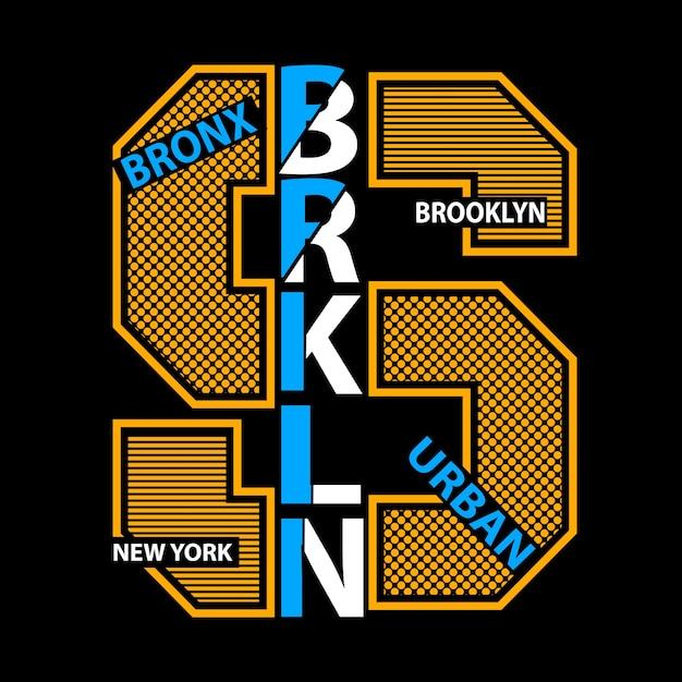 New york brooklyn tipografia crianças camiseta vector Vetor Premium