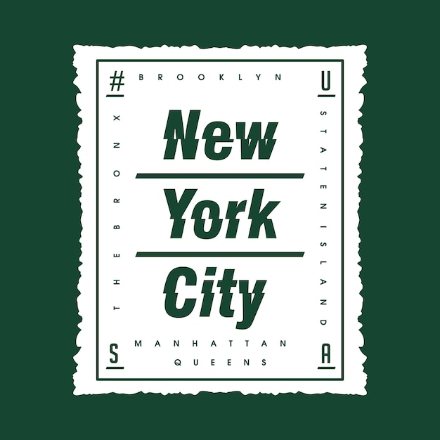 New york city caixa design de camisa de t de tipografia abstrata Vetor Premium