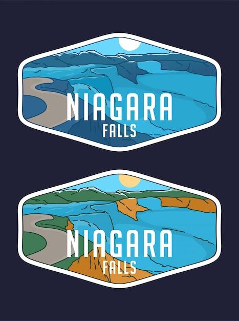 Niagra fall monoline badge Vetor Premium