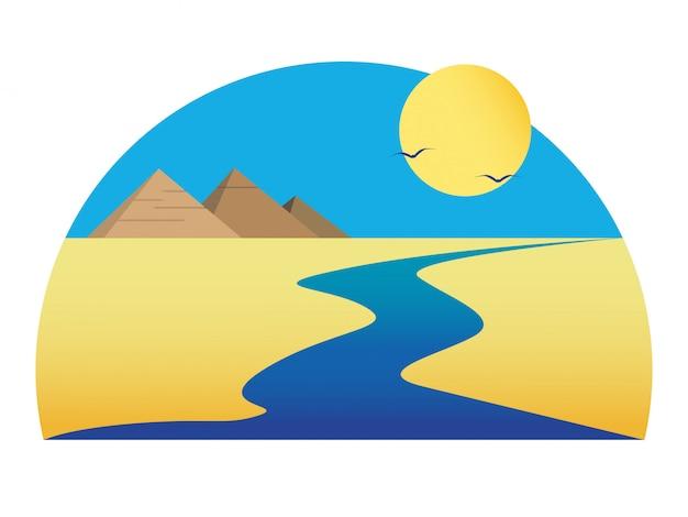 Nilo no deserto Vetor Premium