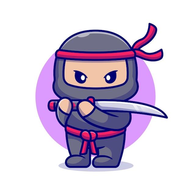 Ninja bonito com espada dos desenhos animados. estilo flat cartoon Vetor grátis