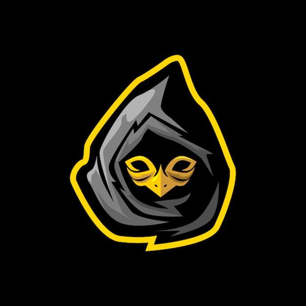 Ninja com máscara de pássaro e mascote de jogo de esporte Vetor Premium