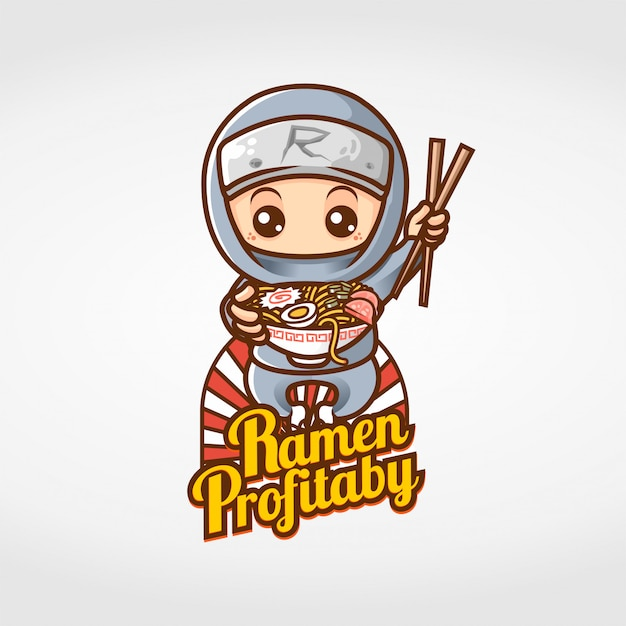 Ninja comendo ramen mascote personagem Vetor Premium