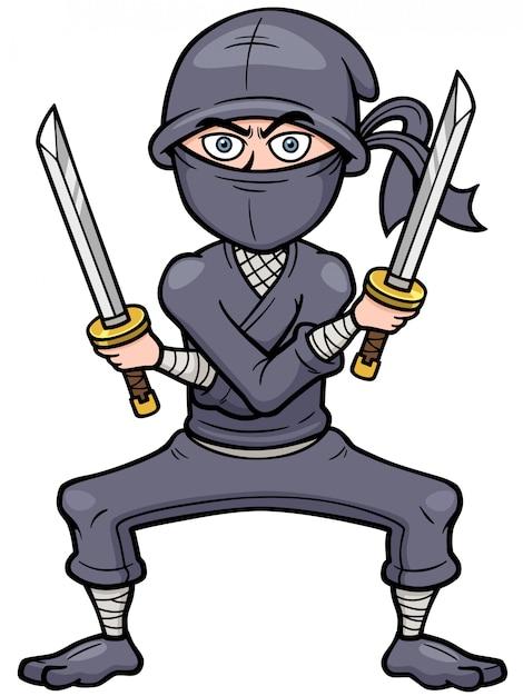 Ninja dos desenhos animados Vetor Premium