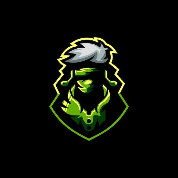 Ninja esports design de logotipo Vetor Premium