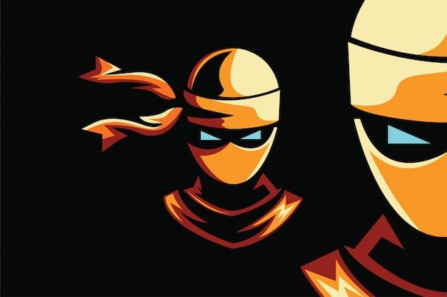 Ninja logo sport Vetor Premium