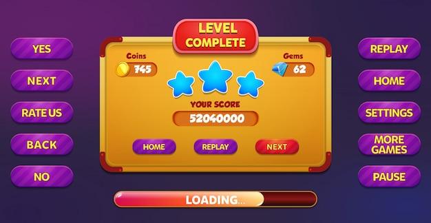 Nível de tela pop up menu completo com estrelas, botões, moedas e pedras preciosas Vetor Premium