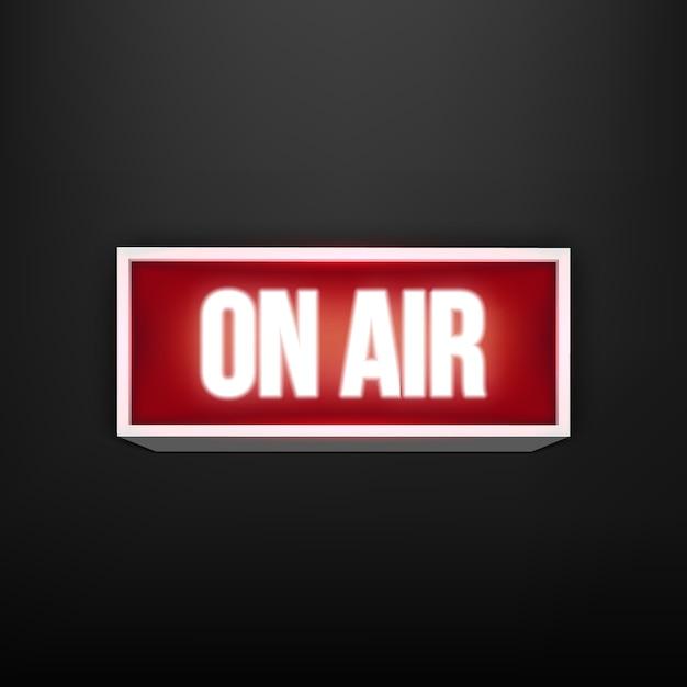 No ar ao vivo brilhante tv, estação de rádio, transmissão. Vetor Premium