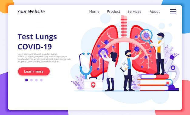No conceito de pneumologia, os médicos verificam os pulmões humanos em busca de infecções pelo coronavírus covid-19. modelo de design de página de destino do site Vetor Premium