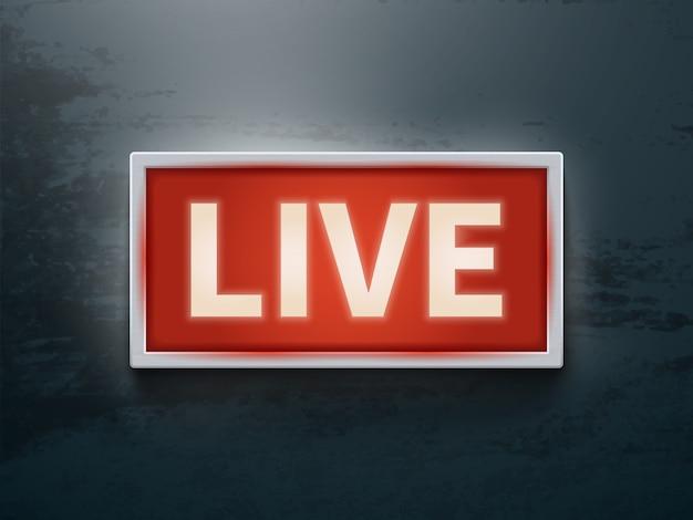 No sinal de ar brilhante. tv ao vivo ou símbolo de luz vector de rádio Vetor Premium