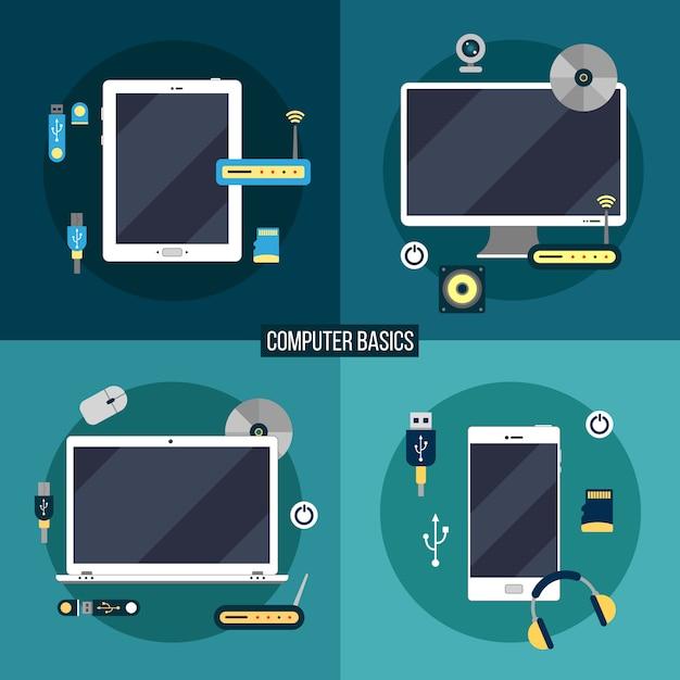 Noções básicas de computação e eletrônica Vetor Premium