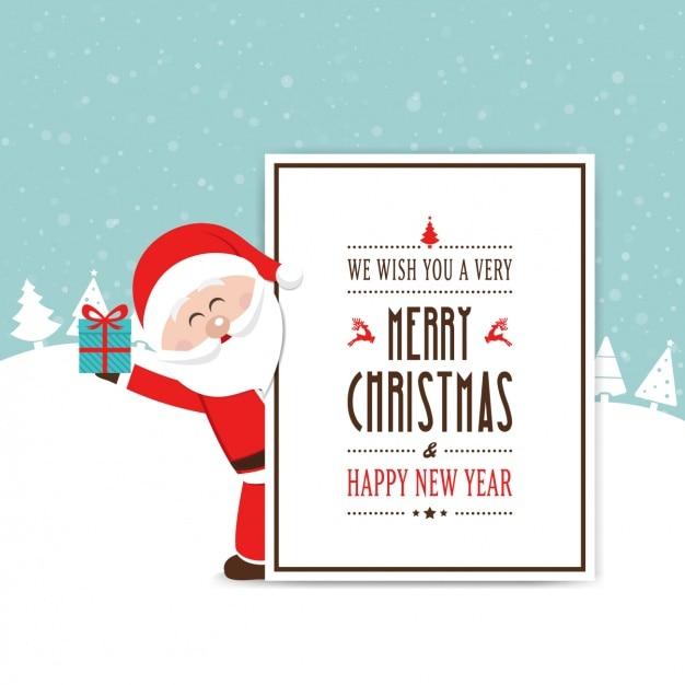Noel feliz de santa que prende um presente Vetor grátis