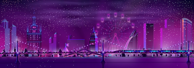 Noite cidade inverno paisagem de fundo vector Vetor grátis
