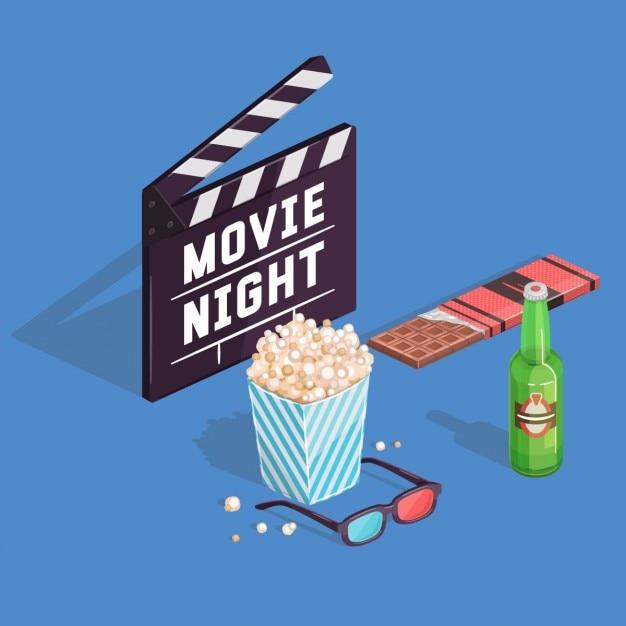 Noite de filme Vetor grátis