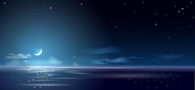 Noite de fundo e mês acima do mar e Vetor Premium