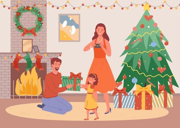 Noite de natal em casa, o pai dá um presente à filha, fica em casa, ano novo e férias de inverno. Vetor Premium