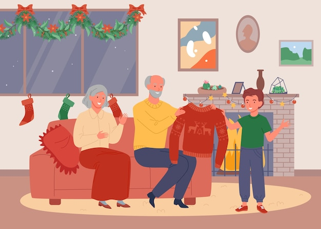 Noite de natal na casa dos avós. feliz fofa avó e avô dão um suéter feio. Vetor Premium