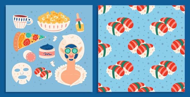 Noite em casa spa. mulher jovem processo de beleza. feliz bom humor, sorria. cuidados com a pele e cabelos. comida, pizza, sushi. cartão de ilustração desenhada mão plana e padrão sem emenda Vetor Premium
