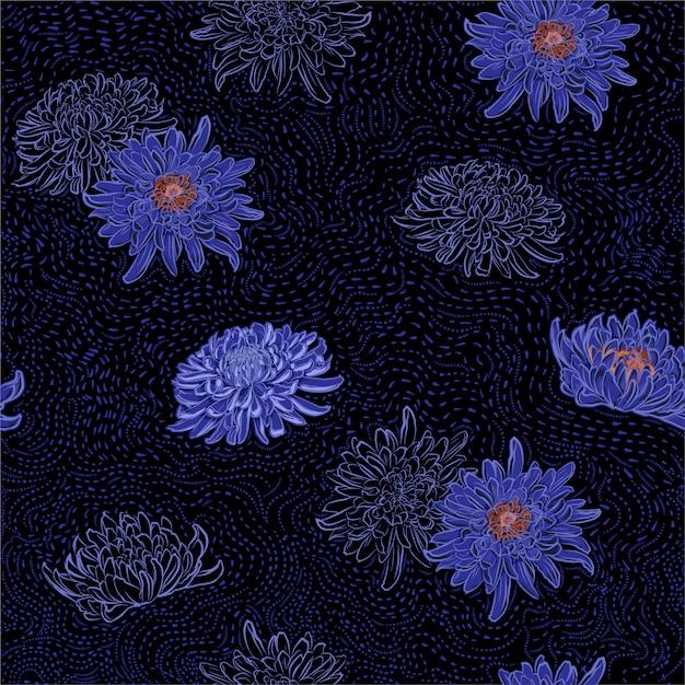Noite escura de verão de flores desabrochando oriental de crisântemo com mão desenhada escova linha padrão sem emenda Vetor Premium