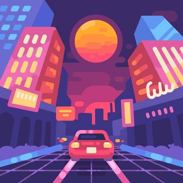 Noite néon rua da cidade dos anos 80 estilo ilustração plana Vetor Premium