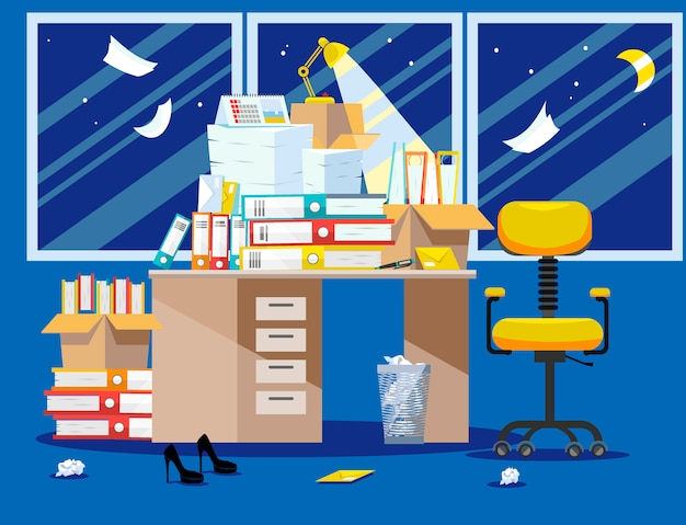 Noite período de apresentação de relatórios de contadores e financeiros. pilha de documentos em papel e pastas de arquivos em caixas de papelão na mesa do escritório. janelas de ilustração vetorial plana, cadeira e cesto de lixo Vetor Premium