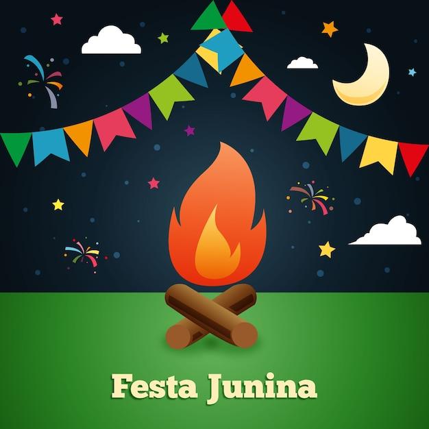 Noite tradicional festa junina background Vetor Premium