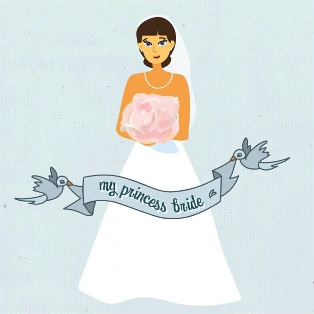 Noiva do casamento com fundo azul fita Vetor grátis