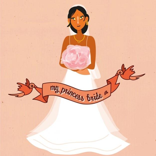 Noiva do casamento com fundo fita vermelha Vetor grátis