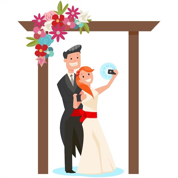 Noiva e noivo em um arco do casamento da ilustração dos desenhos animados das flores isolada no fundo branco. Vetor Premium