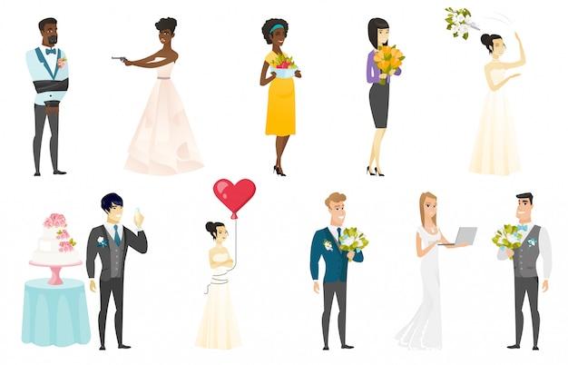 Noiva e noivo Vetor Premium