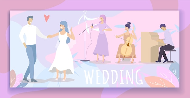 Noiva, em, vestido branco, e, noivo, dane, em, restaurante Vetor Premium