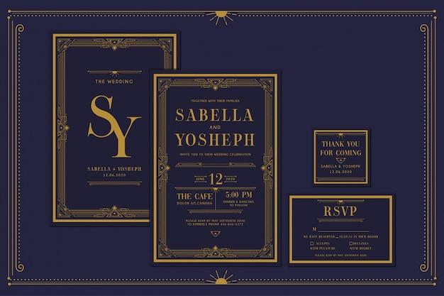 Noivado do art deco / convite do casamento com cor do ouro com quadro. classic navy vintage style premium. inclua agradecer-lhe etiquetas e rsvp. Vetor Premium
