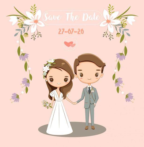 Noivo e noiva bonito para cartão de convites de casamento Vetor Premium