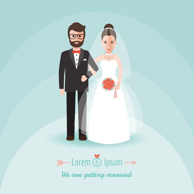 Noivo e noiva no dia do casamento. Vetor Premium