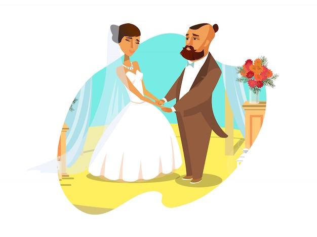 Noivo e noiva que guardam a ilustração lisa das mãos. Vetor Premium