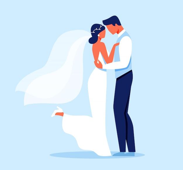 Noivos, abraços, dia do casamento Vetor Premium
