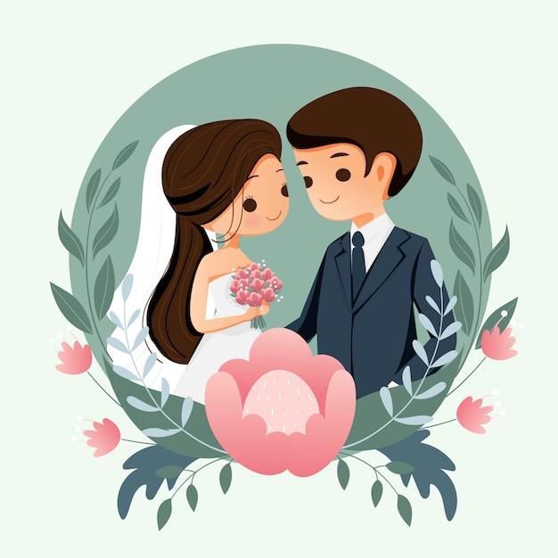 Noivos bonitos com fundo da flor para o cartão de convite de casamento Vetor Premium