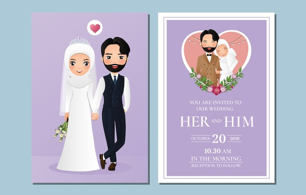 Noivos muçulmanos fofos. cartão de convites de casamento. desenho de casal apaixonado Vetor Premium