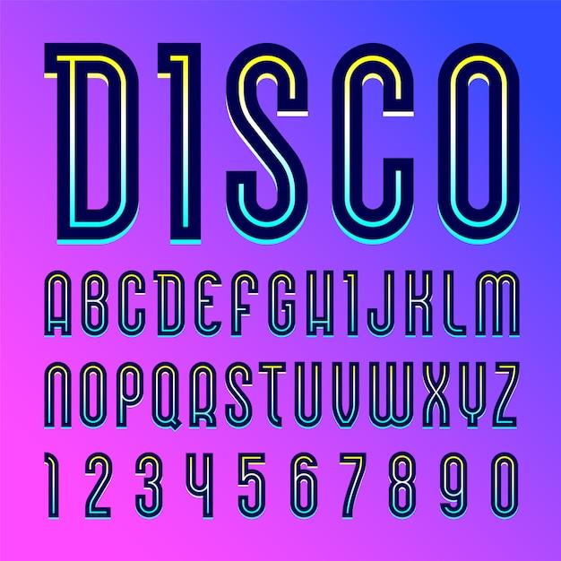 Nome da fonte disco. alfabeto na moda, conjunto de letras Vetor Premium