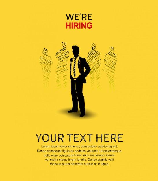 Nós estamos contratando cartaz fundo amarelo Vetor Premium