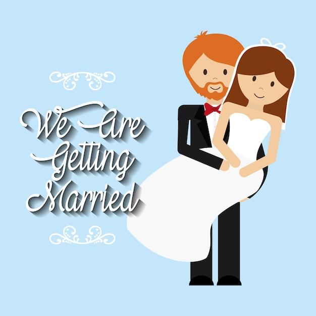 Nós estamos cumprimentando o homem casado carregando mulher linda Vetor Premium