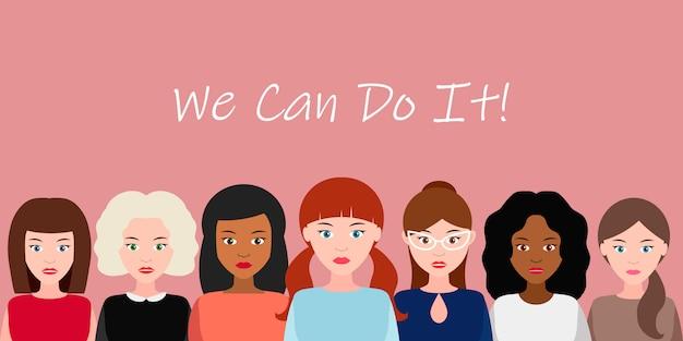 Nós podemos fazer isso. conceito de poder feminino, direitos da mulher, protesto, feminismo. vetor. Vetor Premium
