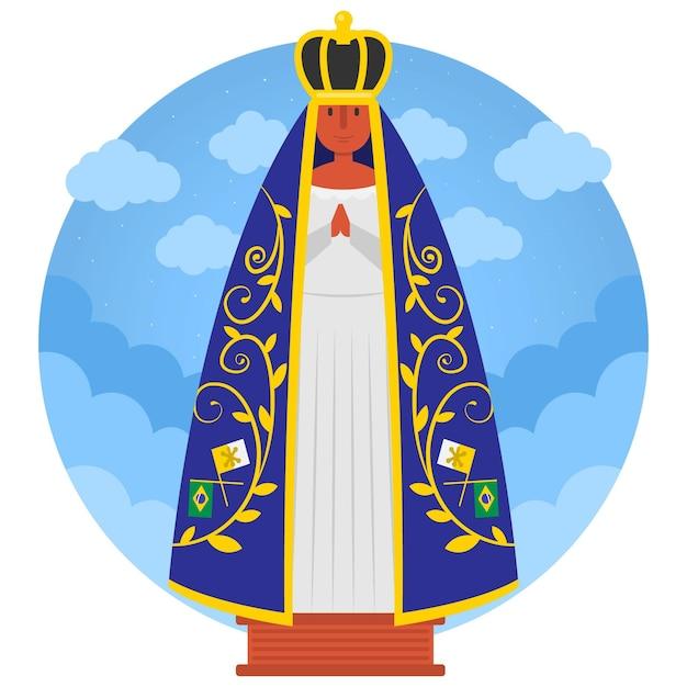 Nossa senhora da aparecida com coroa Vetor grátis