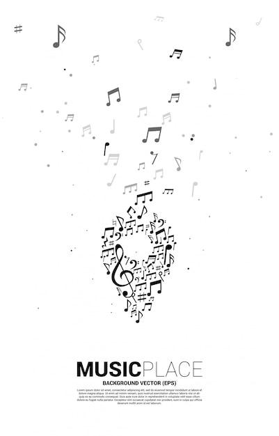 Nota da melodia da música de vetor em forma de ícone de pino. modelo de cartaz para o festival de música e local de concertos. Vetor Premium