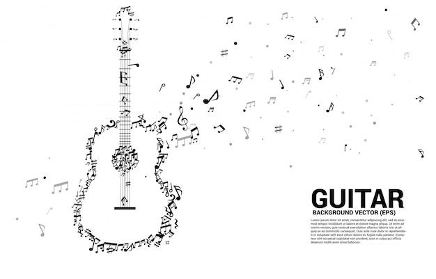 Nota de melodia de música vector dançando o ícone de guitarra de forma de fluxo Vetor Premium
