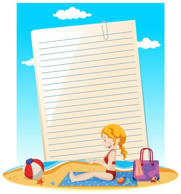 Nota de papel em branco e mulher na praia Vetor grátis