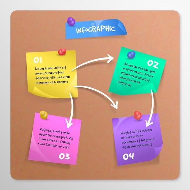 Notas adesivas de infográfico a bordo Vetor Premium